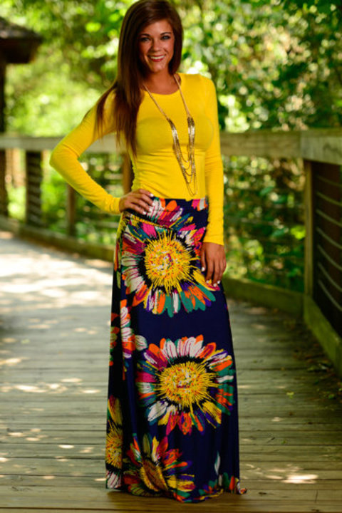 Abstract Sunflower Maxi Skirt, Navy – The Mint Julep Boutique