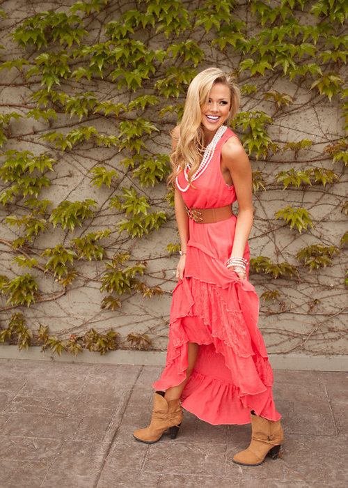 Country Club Ruffle Lace Dress Coral – Modern Vintage Boutique