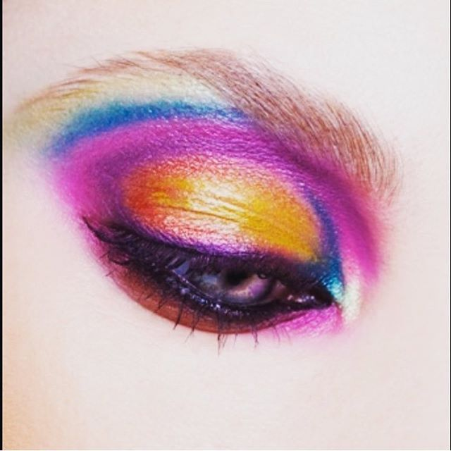 Eye Shadow in Chrome Yellow, Freshwater, Steamy, Parfait Amour, and Mixing Medium Eyeliner mixed ...