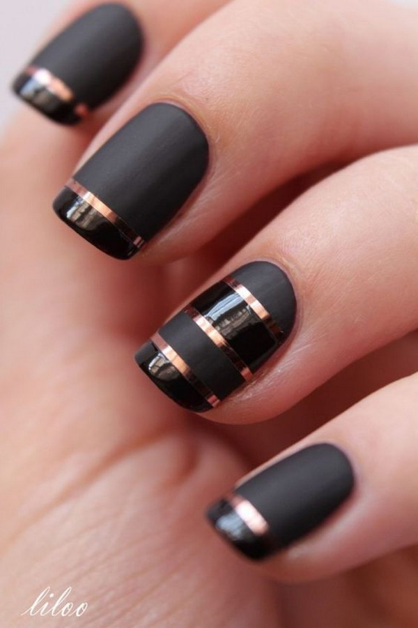 Black Matte Nails with Rose Gold Strips for Detail - Black Matte Nails With Rose Gold Strips For Detail Glitz N Dirt