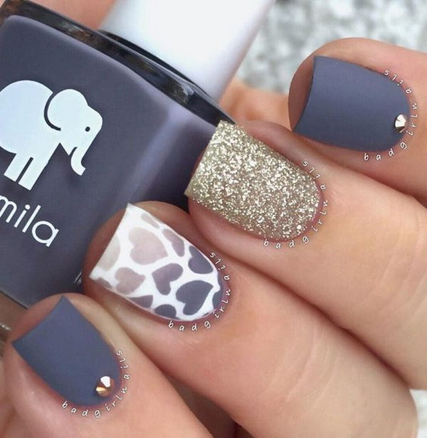 Matte Blue Gray Nail Polish with White and Gold Glitter