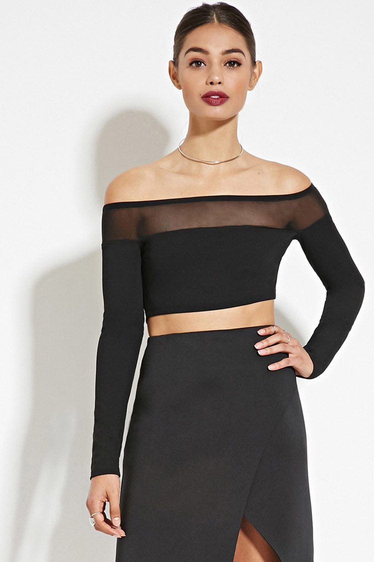 Rise of Dawn Mesh-Paneled Crop Top