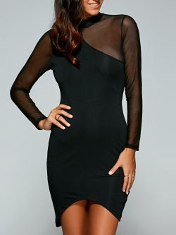 Black See-through Asymmetric Club Dress | RoseGal.com