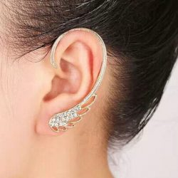 Golden Rhinestone Angel Wing Ear Cuff | RoseGal.com