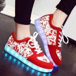 Red Trendy Lighted And Print Design Sneakers For Women | RoseGal.com