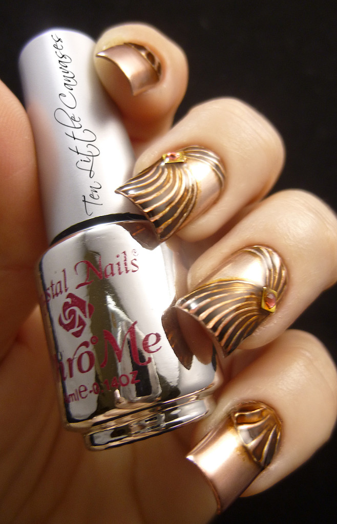 Copper Chrome Nail Design