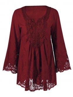 Wine Red Plus Size Lace Patchwork Peasant Blouse | RoseGal.com